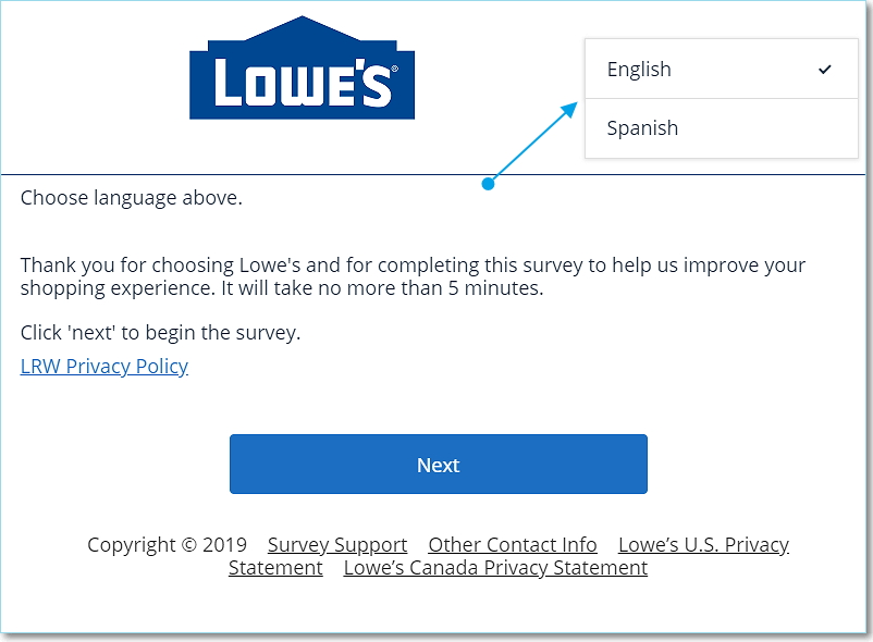 Choose language at Lowe's survey