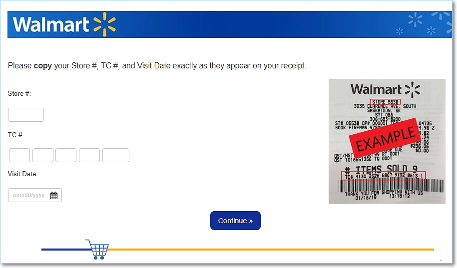 fill Walmart survey details from receipt